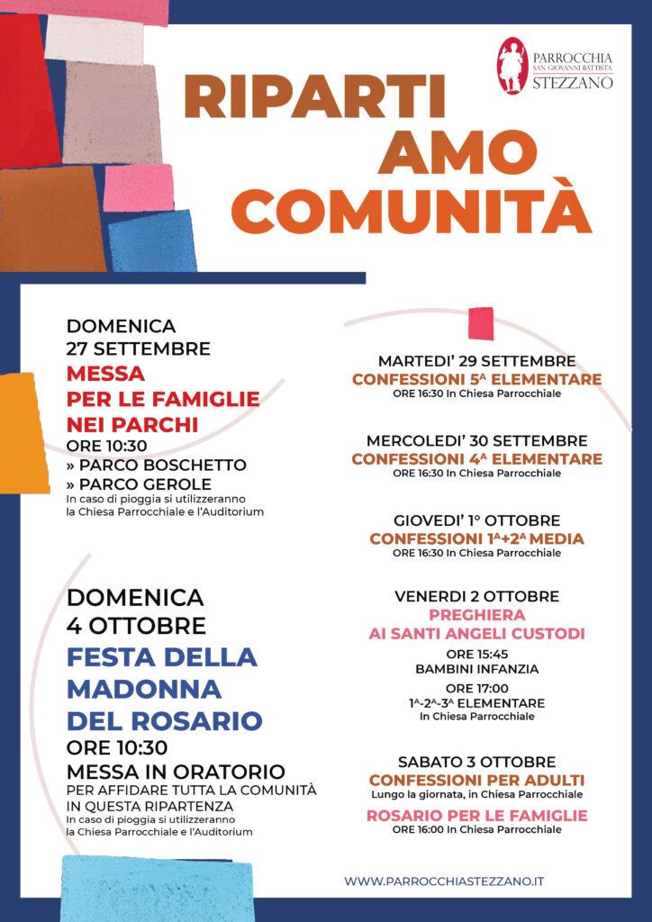 RIPARTIAMO COMUNITA' - appuntamenti dal 27 settembre al 4 ottobre 2020